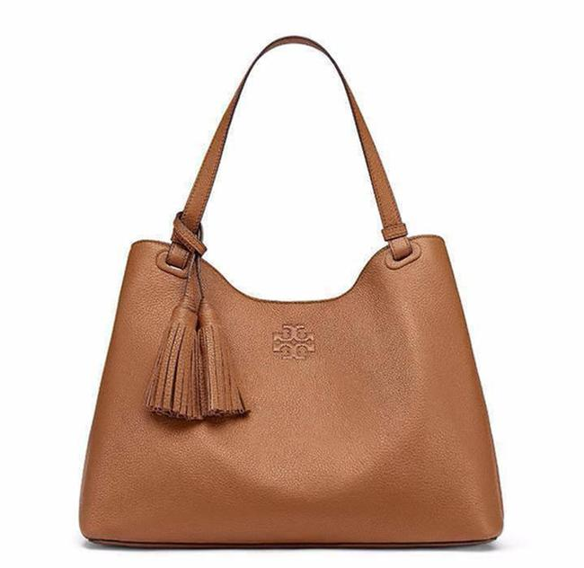 Item - Thea Center Zip Bark Brown Leather Tote