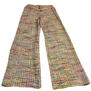 Chanel Fringe Tweed Lined Runway Wide Leg Pants Multi Color