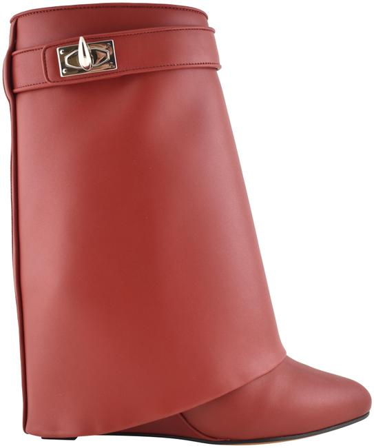 Item - Red Leather Shark Tooth Lock Foldover Wedge Heel Boots/Booties Size EU 38 (Approx. US 8) Regular (M, B)