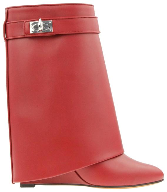 Item - Red Leather Shark Lock Wedge Boots/Booties Size EU 38.5 (Approx. US 8.5) Regular (M, B)