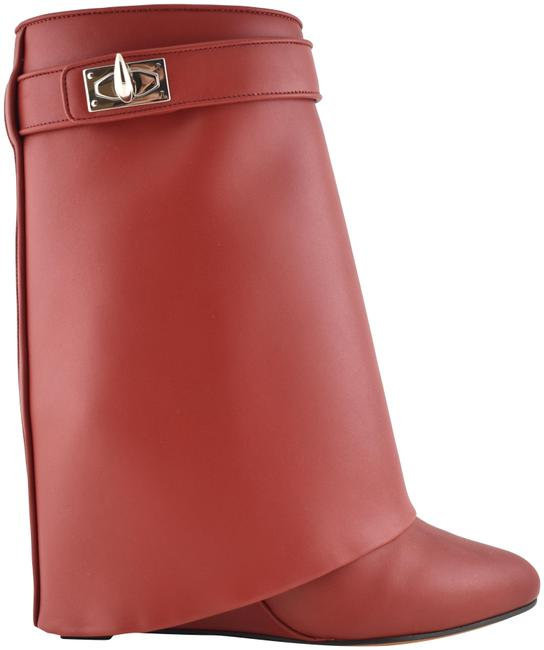Item - Red Leather Shark Tooth Lock Foldover Wedge Heel Boots/Booties Size EU 39 (Approx. US 9) Regular (M, B)