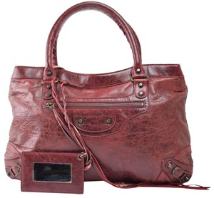 Balenciaga City Town First Fast Twiggy Satchel in Bordeaux
