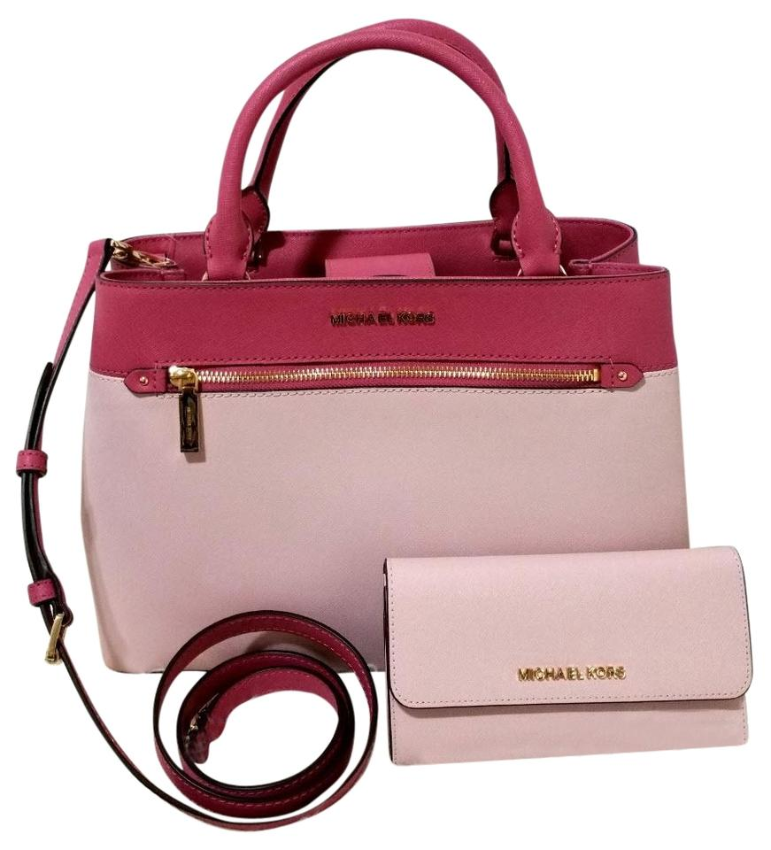 fc683457f174 Michael Kors Set Of 2 Items Handbag And Wallet Hailee Trifold Wallet Satchel  in tulip blossom ...