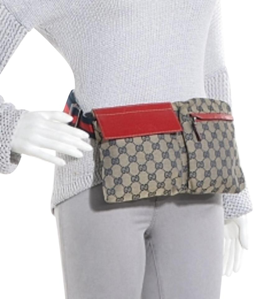 6e30b0961f0b Gucci (Rare) Gg Fanny Pack Belt 866842 Navy X Red Monogram Canvas Cross  Body Bag