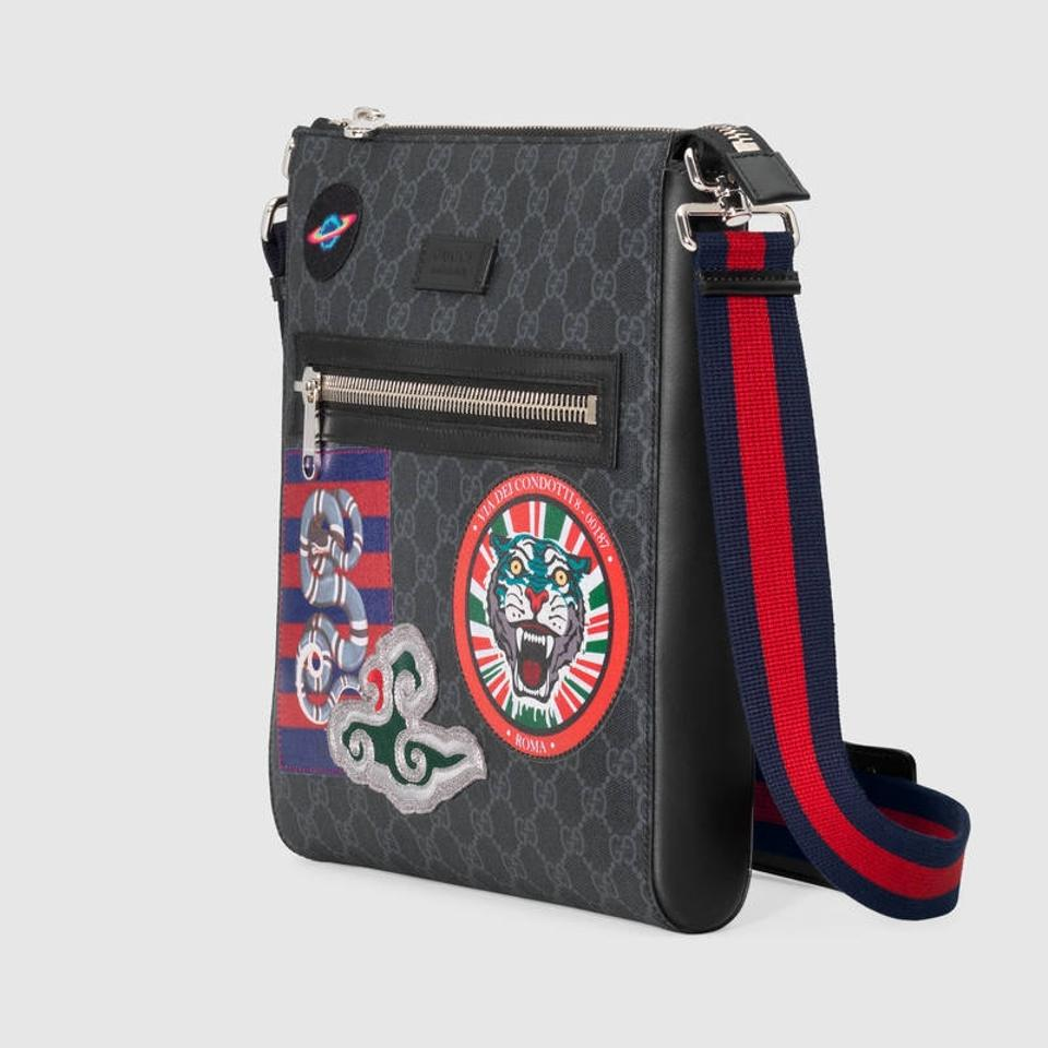 3d7f0e22470 Gucci Night Courrier Patches Gg Canvas Supreme black multi Messenger Bag  Image 5. 123456