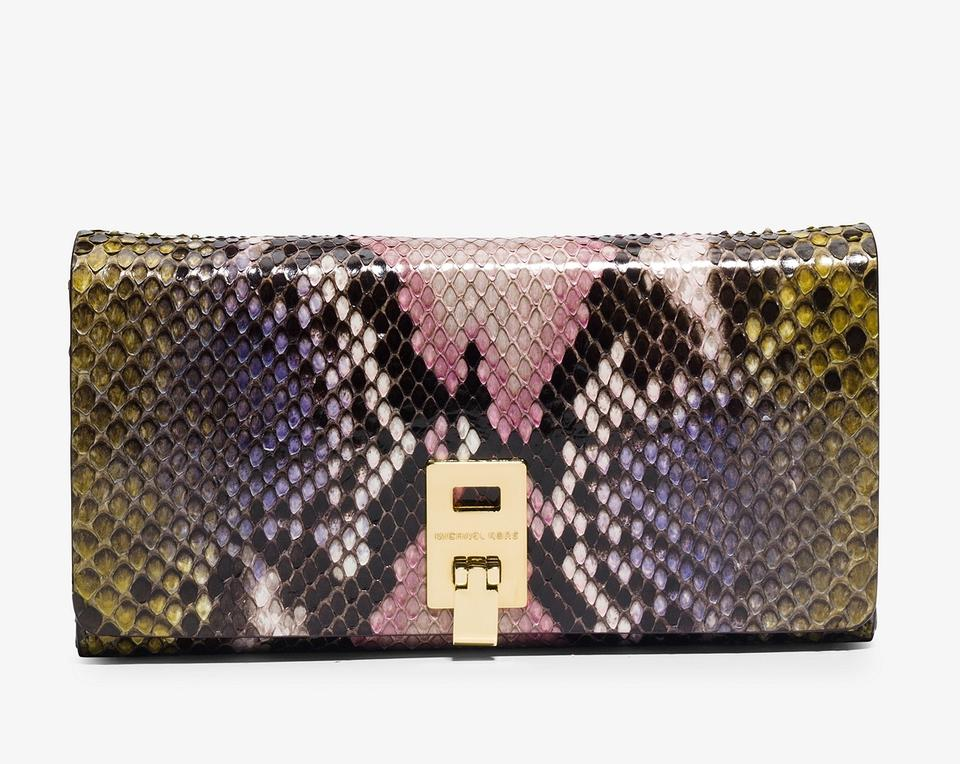 c803472aeae5 Michael Kors Leaf Combo Collection Miranda Hand-painted Python Continental  Wallet