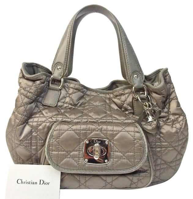 Item - Cannage Quilted Drawstring Gray Nylon Shoulder Bag