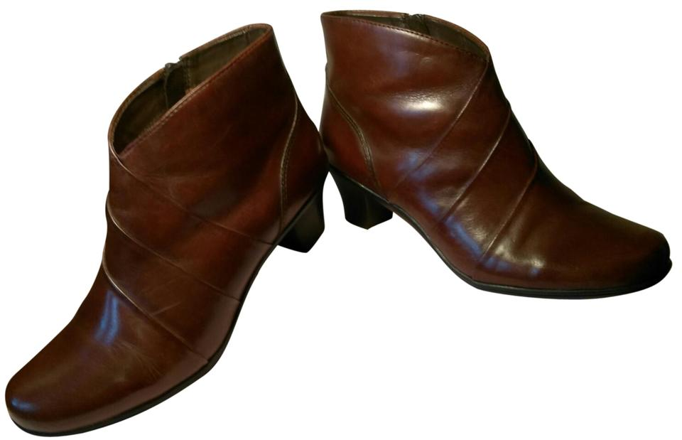 63878f4a Earth Spirit Glossy Caramel Brown Leather Ankle Zippers Heels Boots ...