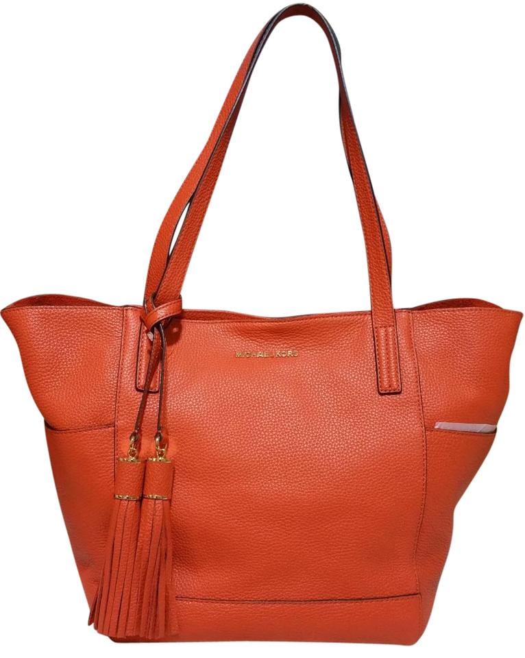 72474efd01b1 Michael Kors Ashbury Large Tote Orange Leather Shoulder Bag - Tradesy