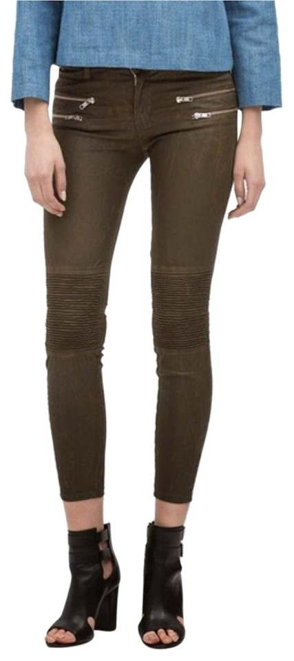 8685bf2e823a7 Zara Marble Ombre. Leather Brown Biker Zipper Skinny Pants green Image 0 ...