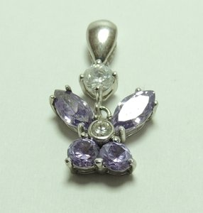 New'925 Sterling Silver + Platinum Rhinesstone Pendant P315