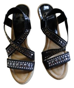 kelsi dagger black and silver studs Wedges
