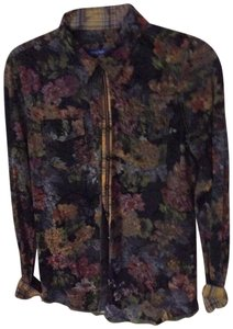 Georg Roth Los Angeles Floral Paisley Vibrant Velvet Button Down Shirt Multi