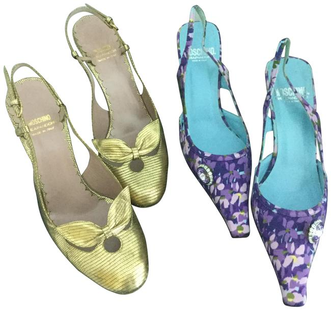 Item - Gold and Purple Floral Two Pairs For One Price Pumps Size EU 39.5 (Approx. US 9.5) Regular (M, B)