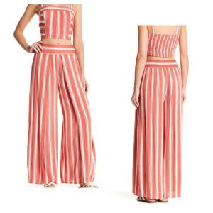 Band of Gypsies Wide Leg Pants Coral and Ivory