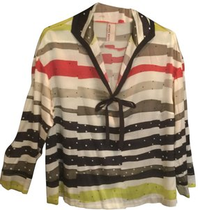 Antonio Marras Designer Silk Striped Top Multi