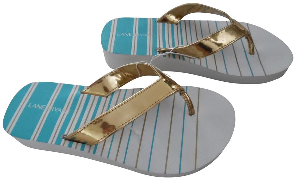 c4f90e174164 Lane Bryant White Teal Gold Striped Chunky Flip Flops Sandals Size ...