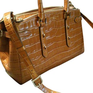 Aspinal of London New Dustbag Satchel in brown embossed croc