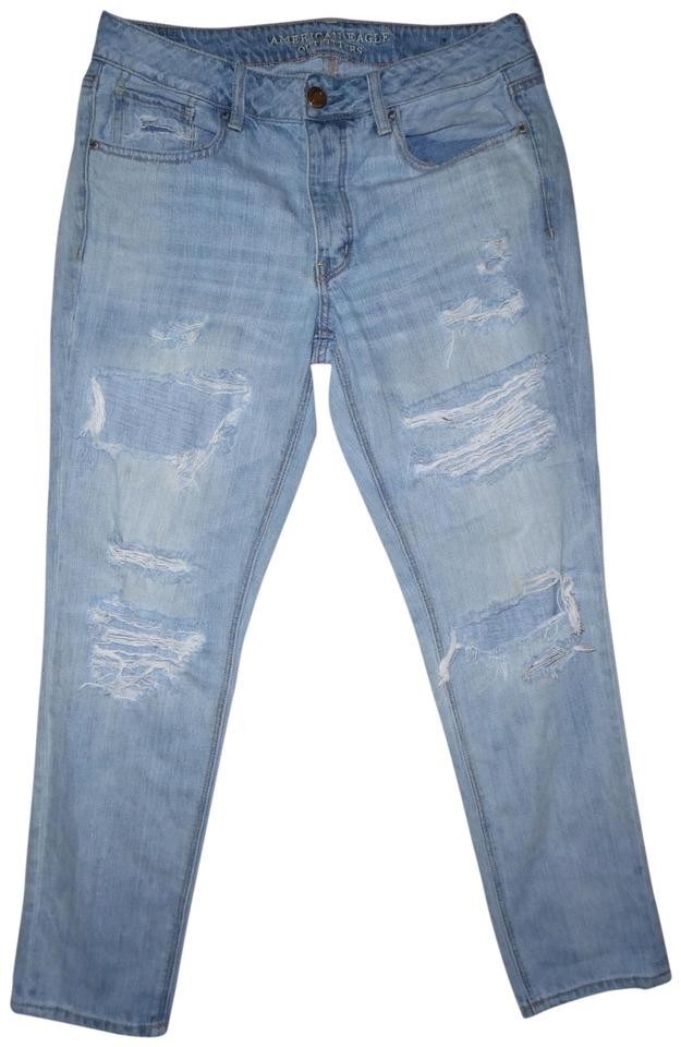 5afe8915ff American Eagle Outfitters Light Blue Distressed Tomgirl Mid-rise Faded  Ripped Skinny Jeans