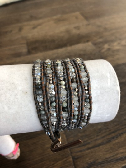 Chan Luu New Auth Chan Luu Grey Quartz Mix Five Wrap Bracelet on Brown Leather