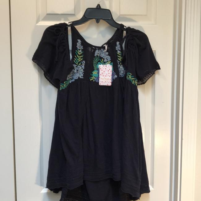 Free People Cold Shoulder Short Sleeve Tie Embroidered Beaded Tunic