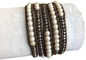 Chan Luu New Auth Chan Luu White Pearl Mix Five Wrap Bracelet on Brown Leather