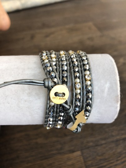 Chan Luu New Auth Chan Luu Silver Crystal Mix Five Wrap Bracelet on Metallic Gr