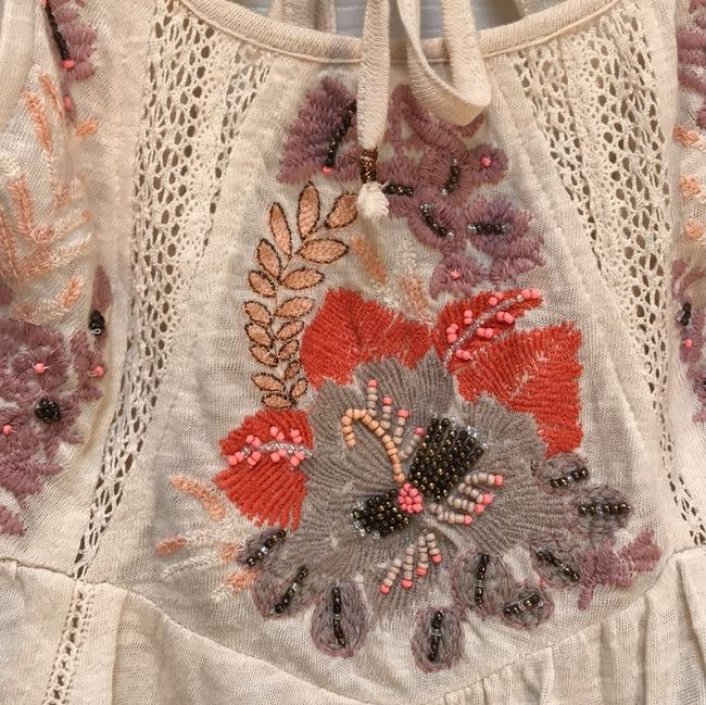 Free People Embroidered Beaded Cotton Short Sleeve Tie Tunic