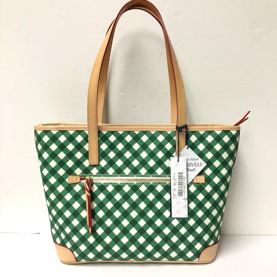 Dooney & Bourke Charleston Plaid Coated Canvas Wallet Tote in GREEN GINGHAM