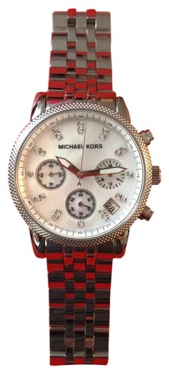 Preload https://item3.tradesy.com/images/michael-kors-silver-stainless-steel-with-subtle-opal-face-and-crystal-stick-indices-three-hands-and--23366387-0-1.jpg?width=440&height=440