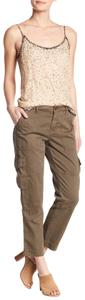 Joie Embellished Pockets Zipper Cotton Cargo Pants fatigue