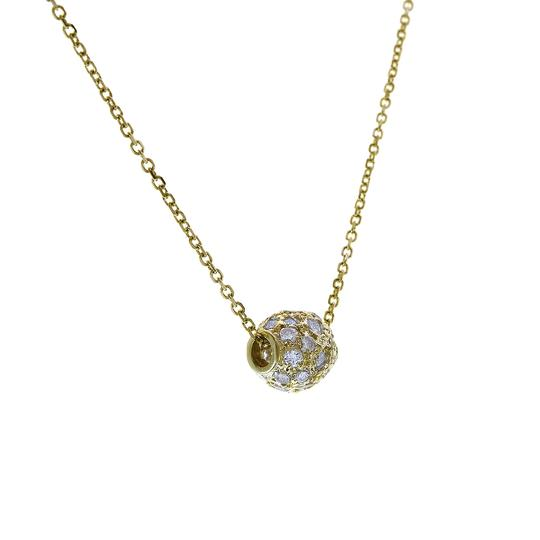 Avital & Co Jewelry 14K Yellow Gold Rolo Chain Necklace With Movable CZ Pendant