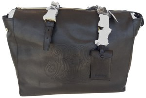 Ralph Lauren Tote Leather Embossed Black Travel Bag