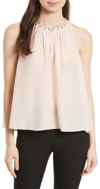 Kate Spade Sleeveless Silk Studded Keyhole Georgette Top rose dew