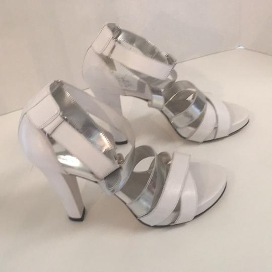 Stuart Weitzman White and silver Platforms