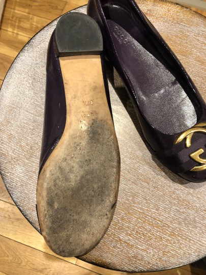 Gucci Patent Leather Gold Buckle deep purple Flats