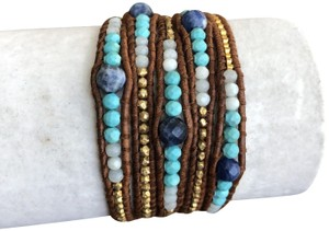 Chan Luu New Auth Chan Luu Graduated Sodalite Mix Five Wrap Bracelet on Brown L