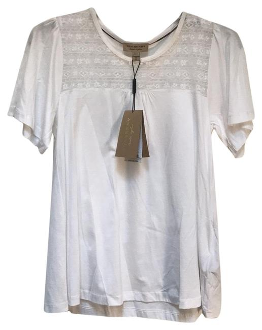 Preload https://item2.tradesy.com/images/burberry-white-brit-lace-panel-cotton-t-shirt-tee-shirt-size-2-xs-23366516-0-1.jpg?width=400&height=650