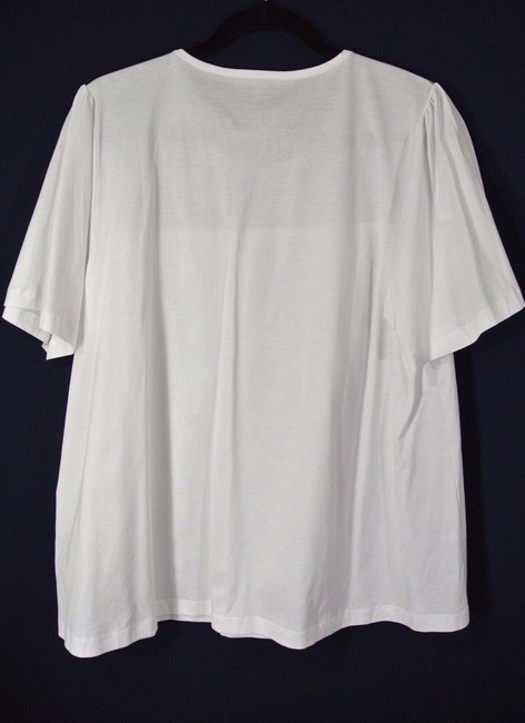 Burberry Cotton Lace Trim Sleeve T Shirt white