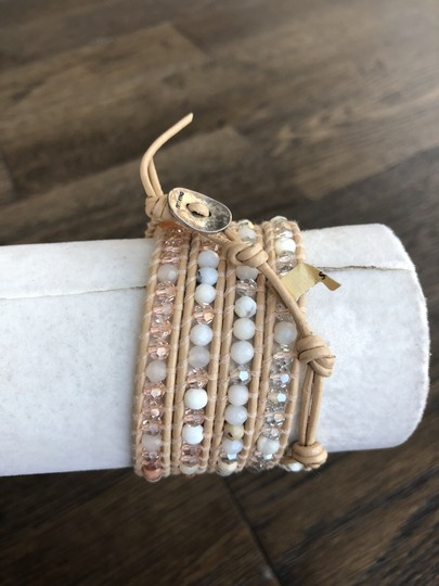 Chan Luu New Auth Chan Luu Peach Mix Five Wrap Bracelet on Cream Leather