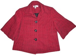 Coldwater Creek Peacoat Petite 1/2 Sleeves Red, Black Jacket
