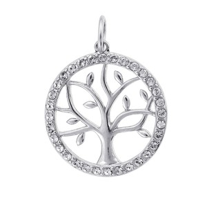Avital & Co Jewelry Cubic Zirconia Circle Tree Sterling Silver Pendant