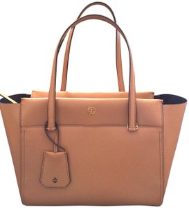 Tory Burch Leather Tote in Cardamom (Beige)