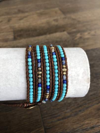 Chan Luu New Auth Chan Luu Turquoise Mix Five Wrap Bracelet on Brown Leather