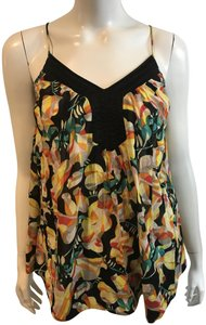 French Connection Silk Ruffle Scoop Back Top MULTICOLOR
