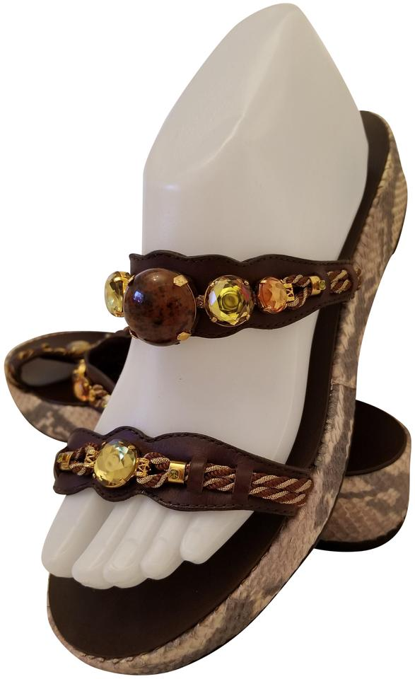 f805d0a04186 Giuseppe Zanotti Brown Suede and Snakeskin Jeweled Wedge Sandals ...