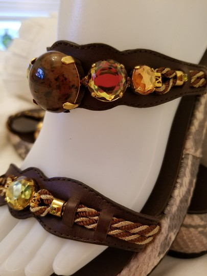 Giuseppe Zanotti Jeweled Brown Suede and Snakeskin Sandals