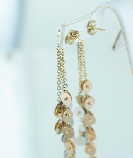 Other 14KT TRI-COLOR DANGLING CIRCLES EARRINGS 013794706