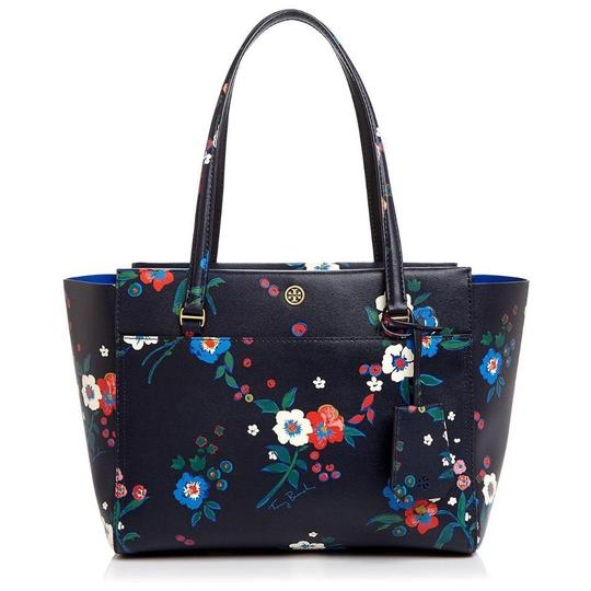 Preload https://item5.tradesy.com/images/tory-burch-parker-new-summer-purse-floral-multi-blue-leather-tote-23366799-0-0.jpg?width=440&height=440