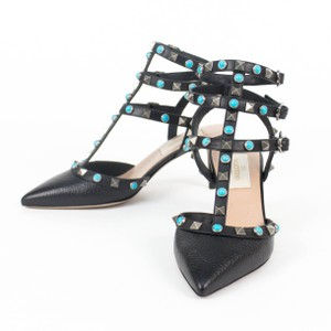 Valentino Leather Rockstud Pointed Toe Ankle Strap Turquoise Stone Black Pumps